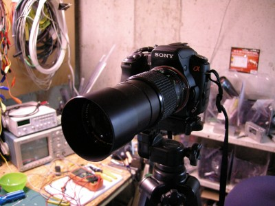Sony A300 with 200mm Rokkor lens attached