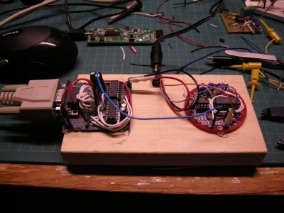 RS232 and Sensors glued to a board