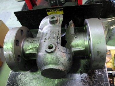 EDMing of valve looking from the side