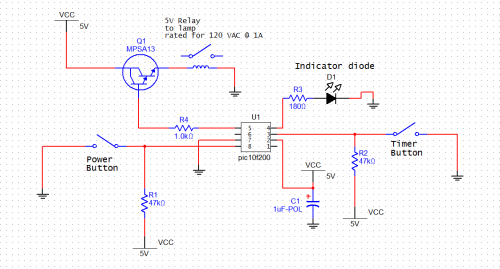 Circuit diagram of Timer Lamp