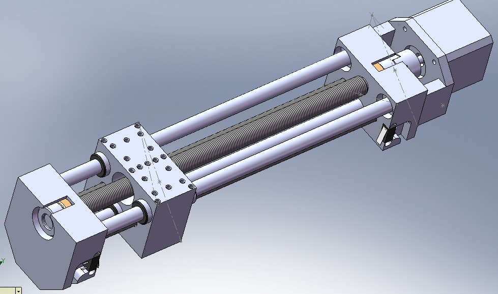 This is the linear drive of the small EDM. It has 8 inches of travel and is surprisingly rigid and play-free. I was going to use a gear motor on the top with a rotary encoder but since the loads are quite small a stepper should be OK, even at higher speeds.